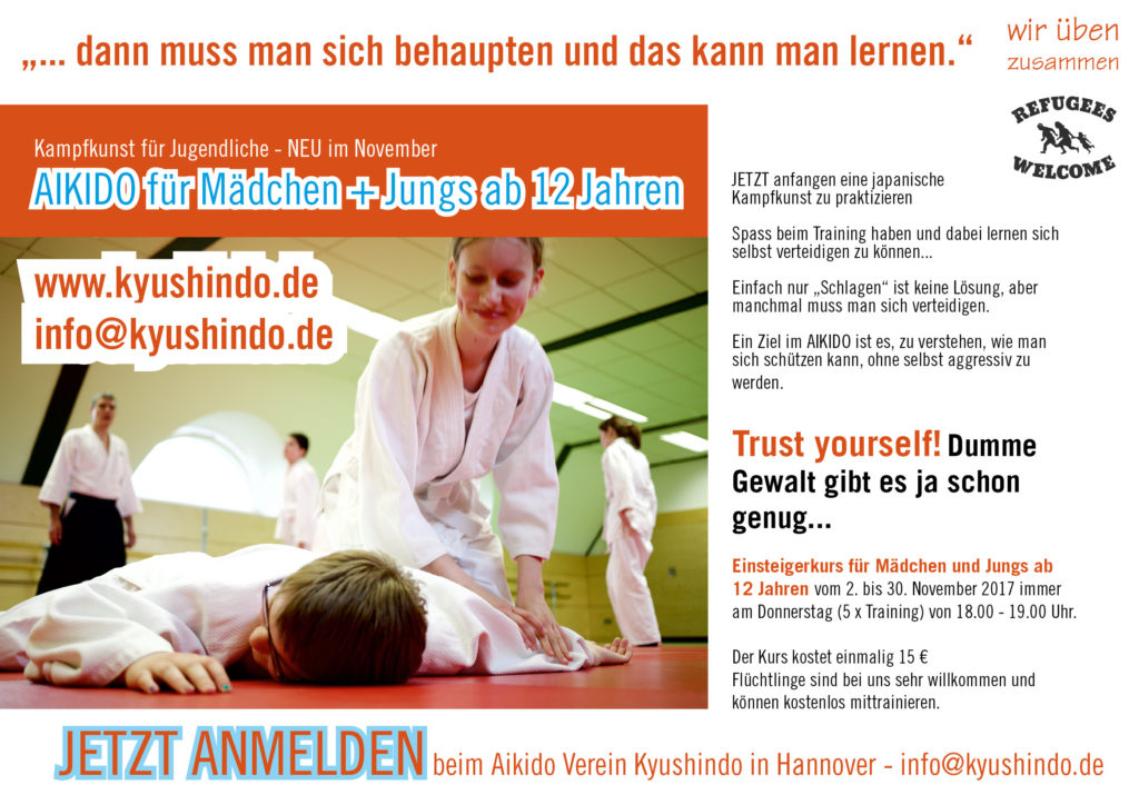 Aikido-Jugend Hannover-kyushindo-aikido Jugend Training Hannover Verein Fluechtlinge Budo Selbstbehauptung, Kyushindo, Aikido hannover kyushindo List, Material Arts, Selbstverteidigung
