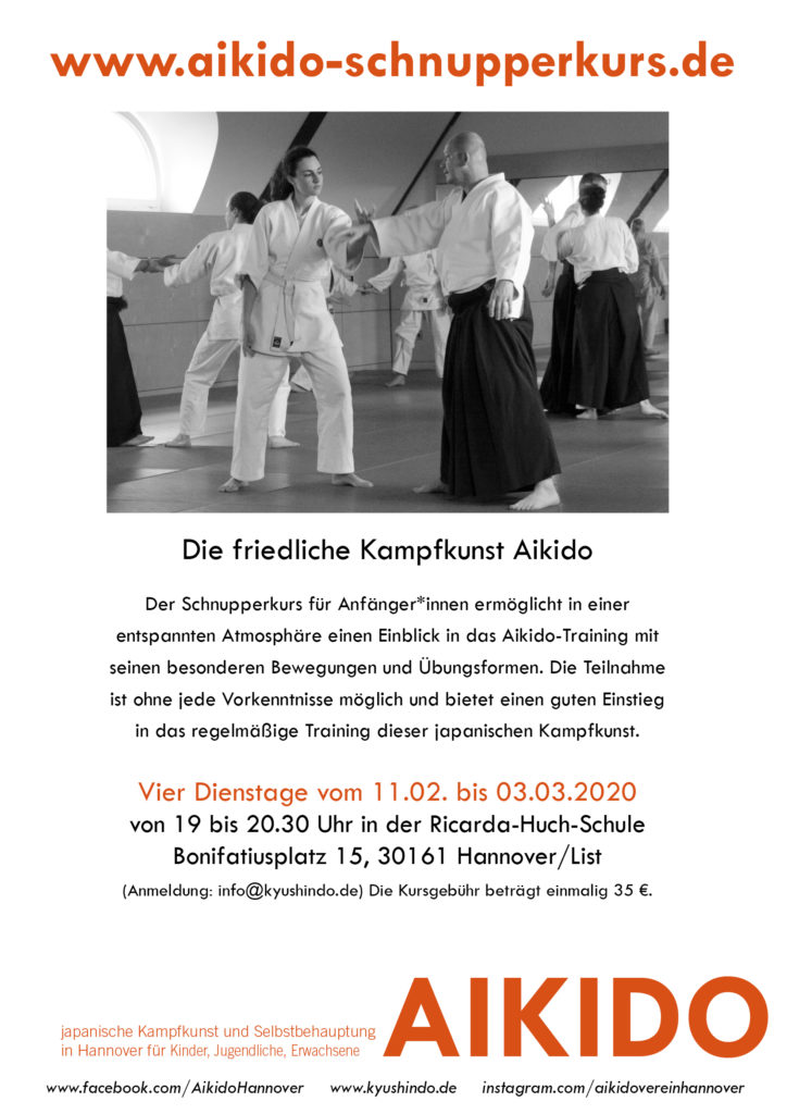 Aikido Verein Kyushindo Hannover schnupperkurs